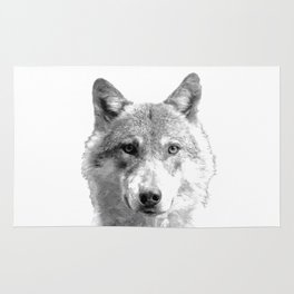Black and White Wolf Rug
