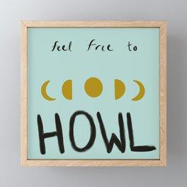 Moon Howler (teal) Framed Mini Art Print