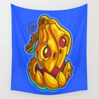 pumpkin Wall Tapestries featuring Pumpkin 1 by Artistic Dyslexia
