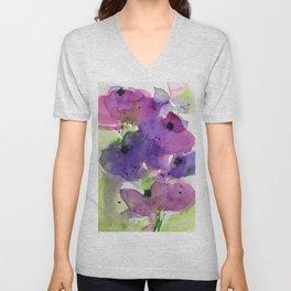 purple flowers in the garden Unisex V-Neck