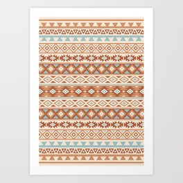 Aztec Stylized Pattern Blue Cream Terracottas Art Print