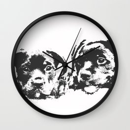 Rottweiler puppies Wall Clock