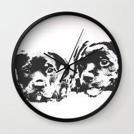 Rottweiler puppies Wall Clock