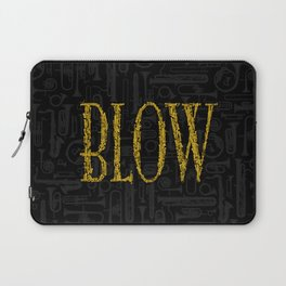Blow BLACK & GOLD / Horn instruments forming type and background Laptop Sleeve