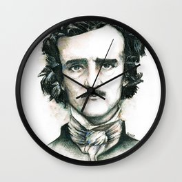 Edgar Allan Poe and Ravens Wall Clock