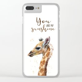 You Are My Sunshine Giraffe Nursery Animals Watercolor Art Clear iPhone Case