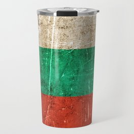 Vintage Aged and Scratched Bulgarian Flag Travel Mug