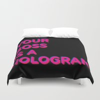 hologram Duvet Covers featuring Your Boss is a Hologram by Rendra Sy