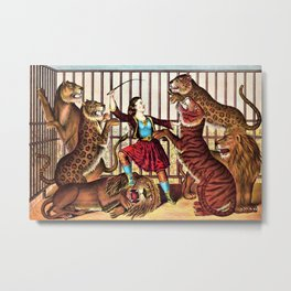1874 Circus Show 'The Lion Queen' Lion Tamer Vintage Poster Metal Print