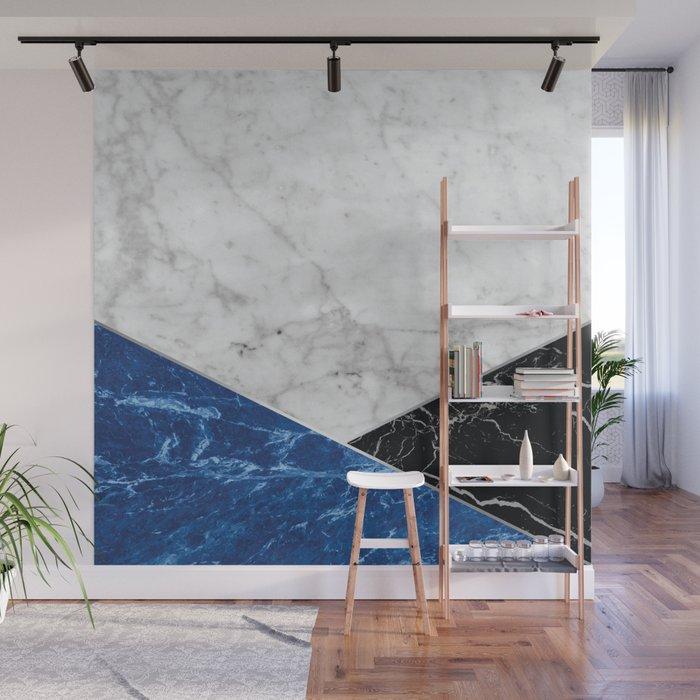 White Marble - Blue Granite & Black Granite #514 Wall Mural