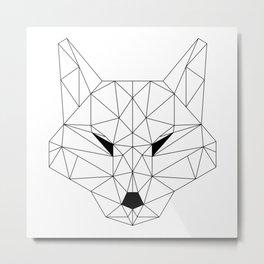 Minimalist Geometric Black Line Art Scandinavian Style Fox Drawing Metal Print