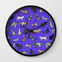 Marble Cats Ultraviolet Wall Clock