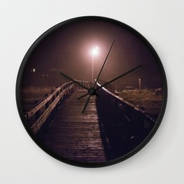 Foggy Footbridge Wall Clock