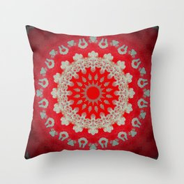 Bright Red Mandala Throw Pillow