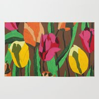 tulips Area & Throw Rugs featuring Tulips  by Marjolein