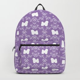 Havanese silhouette floral dog breed minimal pattern gifts pure breed unique dogs Backpack