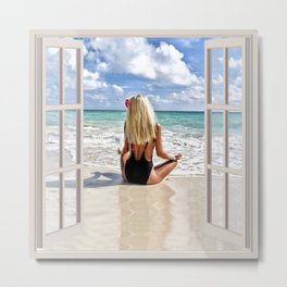 Blonde Hair on the Beach | OPEN WINDOW ART Metal Print