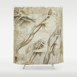 Leonardo Da Vinci human body sketches - arms Shower Curtain