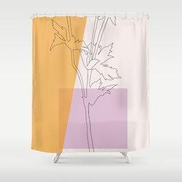 Thistle Retro Botanical Line Drawing Shower Curtain