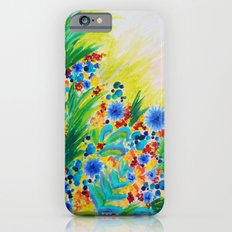 NATURAL ROMANCE - Lovely Bright Floral Garden Sweet Happy Feminine Colorful Rainbow Flowers Painting iPhone 6s Slim Case