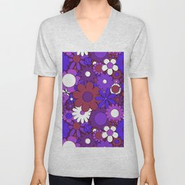 Funky Daisy Floral in Psychedelic Purple Unisex V-Neck