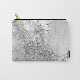 Vintage Mexico Railroad Map (1881) BW Carry-All Pouch