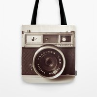 carpe Tote Bags featuring Camera by Tuky Waingan
