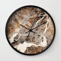 montreal Wall Clocks featuring Montreal by Map Map Maps