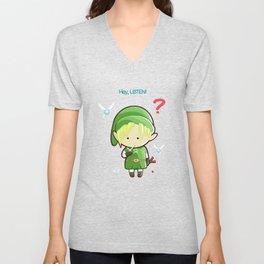 Hey Listen! Cute Link From Zelda Kawaii :) Unisex V-Neck