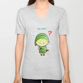 Hey Listen! Cute Link From Zelda Kawaii :) Unisex V-Neck