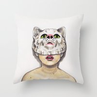 avenger Throw Pillows featuring Masked Avenger by Kyreena Hay