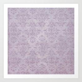 Vintage chic violet lilac floral damask pattern Art Print