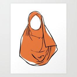 Hijab Woman 03, single line art colored set Art Print