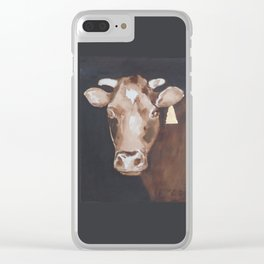Gold Earring - Cow portrait Clear iPhone Case
