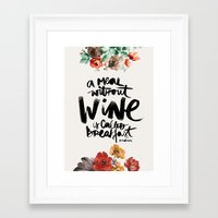 wine Framed Art Prints featuring Wine by Karen Hofstetter