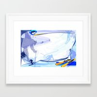 skiing Framed Art Prints featuring Downhill Skiing by Robin Curtiss