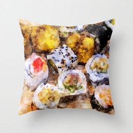 Sushi board watercolor Throw Pillow