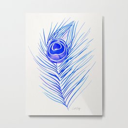 Peacock Feather – Blue Palette Metal Print