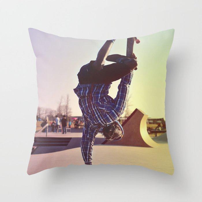 Skateboard Handstand Throw Pillow