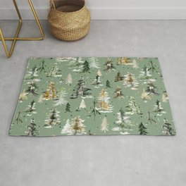 Watercolor Winter Trees Green Rug