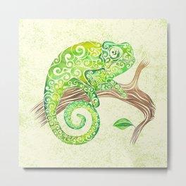 Swirly Chameleon Metal Print