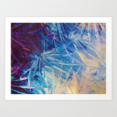 NIGHT FLOWERS - Beautiful Midnight Florals Feathers, Eggplant Lilac Periwinkle Cream Modern Abstract Art Print