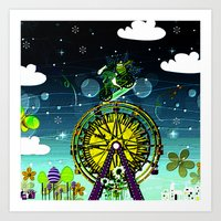 circus Art Prints featuring Circus by Florencia Mittelbach Marenco