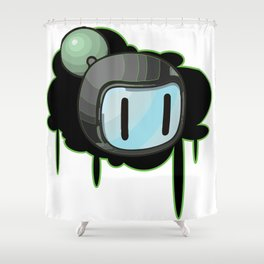 The Green Bomber  Shower Curtain