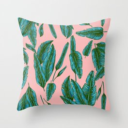Green and Pink Banana Leafs Throw Pillow