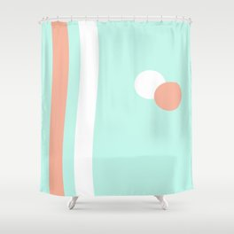 Turquoise & Coral (1) Shower Curtain