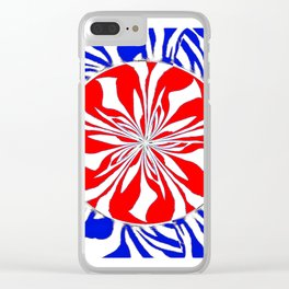 Zebra Kaleidoscope Red White and Blue Clear iPhone Case
