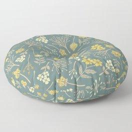 Yellow, Cream, Gray, Tan & Blue-Green Floral Pattern Floor Pillow