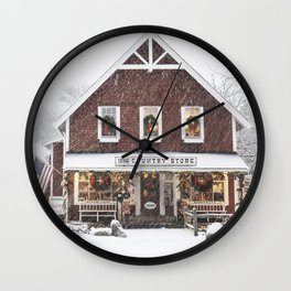 Classic Country Store Christmas Scene Wall Clock