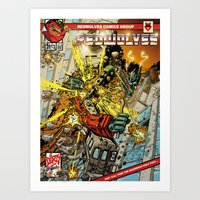 transformers Art Prints featuring transformers by Haribow
